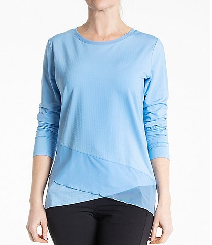 Bette & Court Crossover Jewel Neck Long Sleeve Top