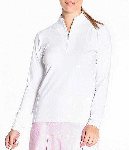 Sport Haley Skye Mandarin Collar Long Sleeve Solid Polo Top