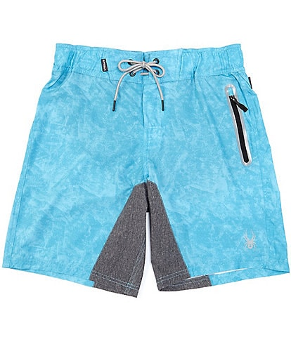 Spyder Men's Elastic-Waist Textured Digital 9#double; Inseam Hybrid Board Shorts