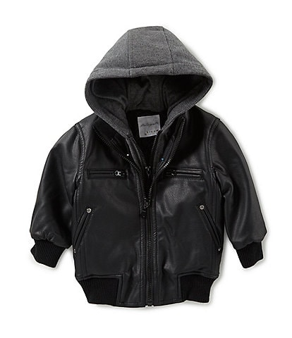 Starting Out Baby Boys 12-24 Months Hooded Faux Leather Bomber Jacket