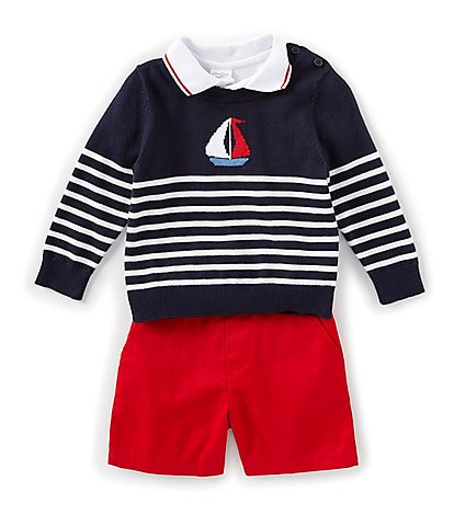 Starting Out Baby Boys 12-24 Months Nautical Sweater, Polo, & Shorts Set