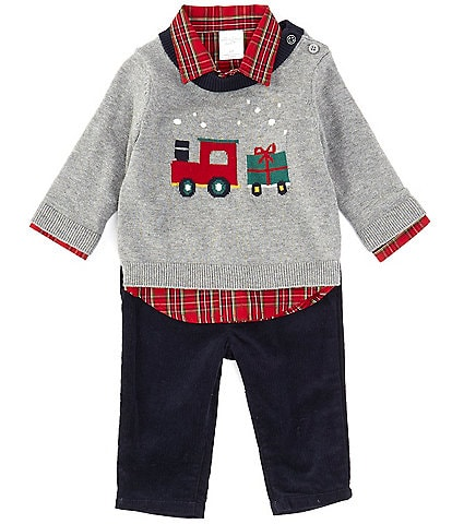 Starting Out Baby Boys 3-24 Months Christmas Train Sweater, Long-Sleeve Plaid Shirt, & Pant Set