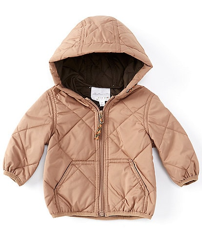 Starting Out Baby 3-24 Months Light Quilted Puffer Front Zip Hooded Coat