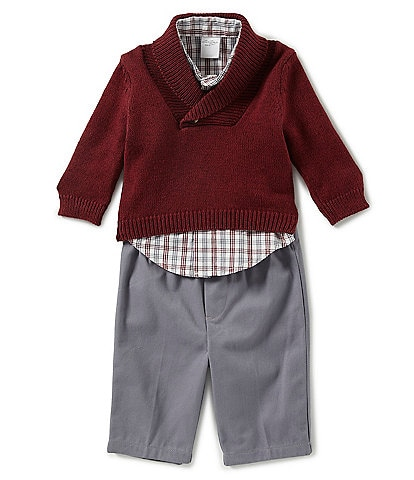 Starting Out Baby Boys 3-24 Months Sweater, Plaid Dress Shirt, & Twill Pant Set