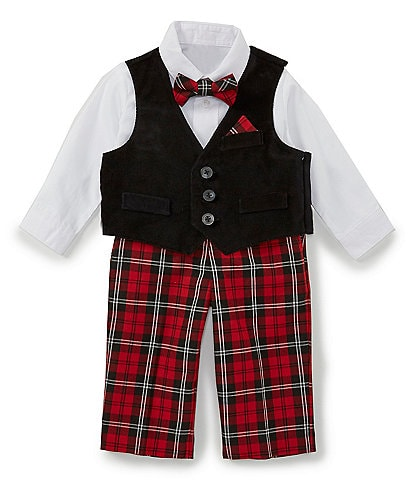 Starting Out Baby Boys 3-9 Months Button Front Top, Velvet Vest, Bow Tie, & Pants Set