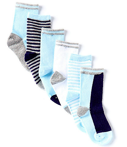 Starting Out Baby Boys 6-Pack Basic Crew Socks