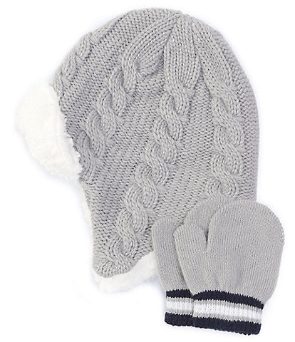 Starting Out Baby Boys Cable Pilot Hat & Mittens Set