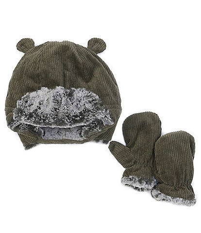 Starting Out Baby Boys Corduroy Bear Hat & Mittens Set