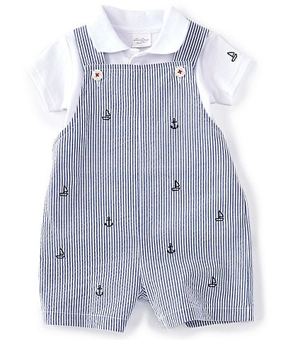Starting Out Baby Boys Newborn-24 Months Short-Sleeve Polo & Boat Seersucker Shortall Set