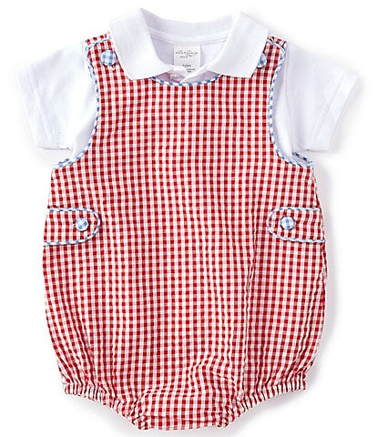 Starting Out Baby Boys Newborn-24 Months Short-Sleeve Polo & Gingham Bubble Romper Set
