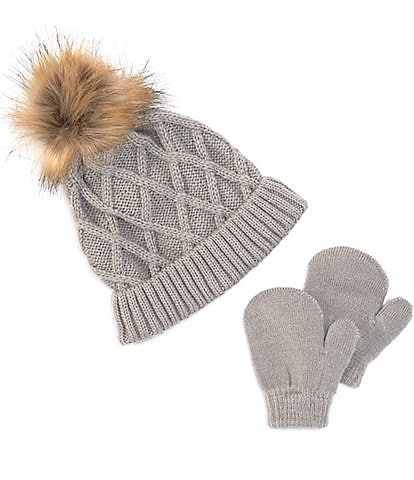 Starting Out Baby Faux-Fur Pom Beanie & Mitten Set