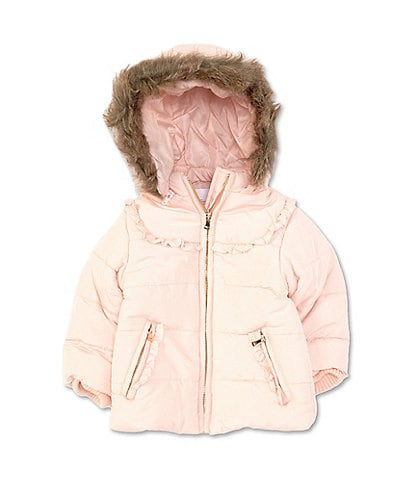 Starting Out Baby Girls 12-24 Months Faux-Fur/Ruffle-Trim Coat