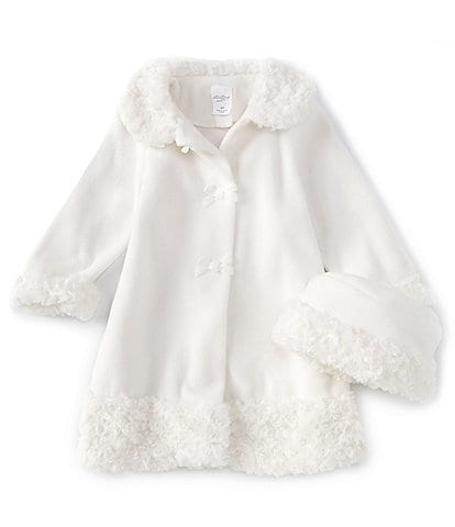 Starting Out Baby Girls 12-24 Months Swirl Fur Bow Coat and Hat Set