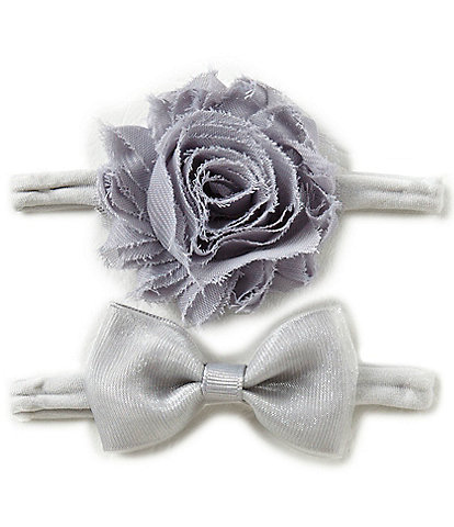 Starting Out Baby Girls 2-Pack Frayed Flower/Bow Headband