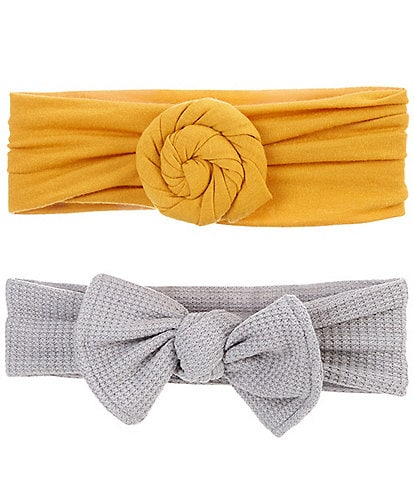 Starting Out Baby Girls 2-Pack Swirl Knot and Waffle Bow Headbands
