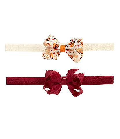 Starting Out Baby Girls 2-Pack Turkey/Solid Grosgrain Bow Headbands