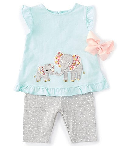 Starting Out Baby Girls 3-24 Months Elephant Top & Dotted Legging Set
