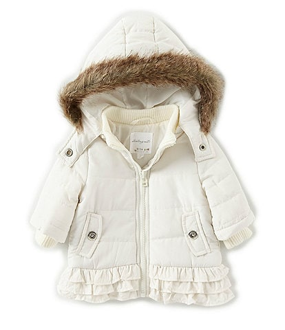 Starting Out Baby Girls 3-24 Months Removable-Hood Ruffle Puffer Coat