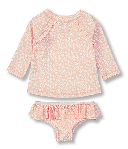 Starting Out Baby Girls 3-24 Months Floral Rashgaurd & Bikini Bottom Swimsuit Two-Piece Set