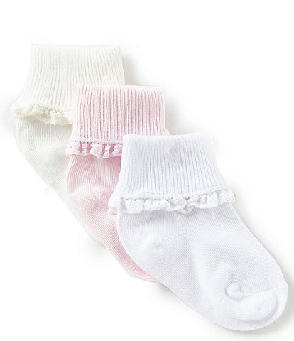 Starting Out Baby Girls 3-Pack Crochet Lace Socks