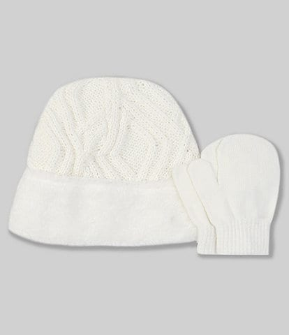 Starting Out Baby Girls Cable Plush Hat & Mittens Set