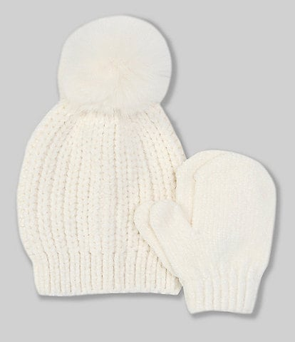 Starting Out Baby Girls Chenille Pom Hat & Mittens Set