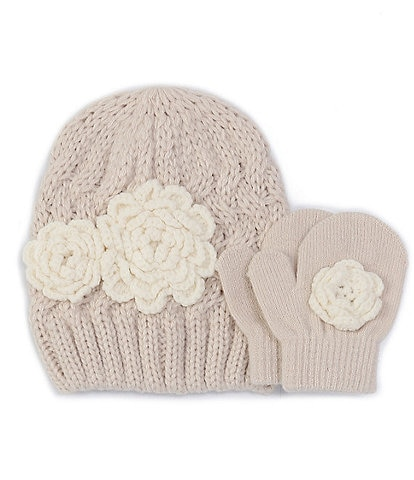 Starting Out Baby Girls Crochet Flowers Hat & Mittens Set