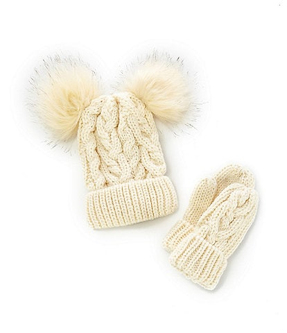 Starting Out Baby Girls Faux-Fur Double Pom Pom Cable-Knit Beanie & Mitten Set