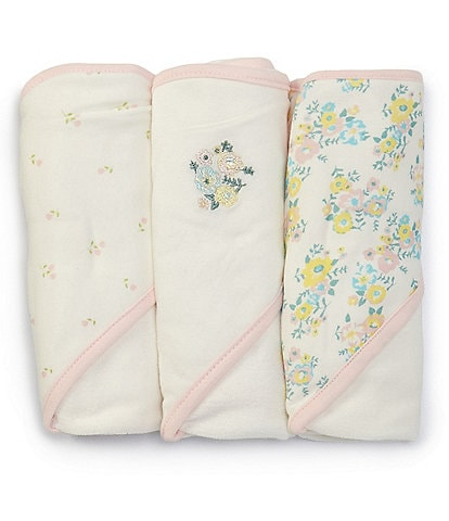 Starting Out Baby Girls Floral 3-Pack Hooded Towels