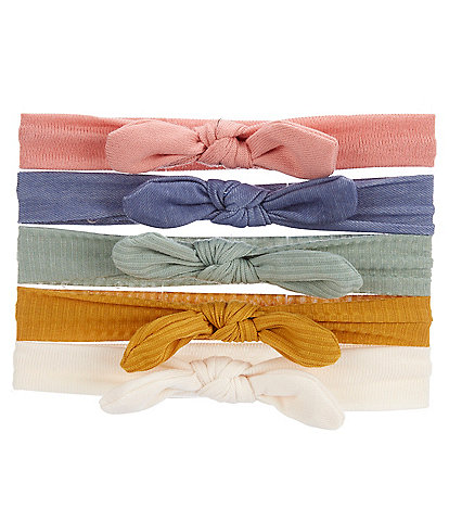 Starting Out Baby Girls Knot Bow Ribbed 5-Pack Headbands