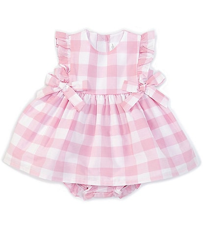 Starting Out Baby Girls Newborn-24 Months Side-Bows Gingham Check A-Line Dress