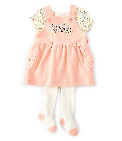 Starting Out Baby Girls Newborn-9 Months Floral Bodysuit, Overall Jumper & Footed Tights Set