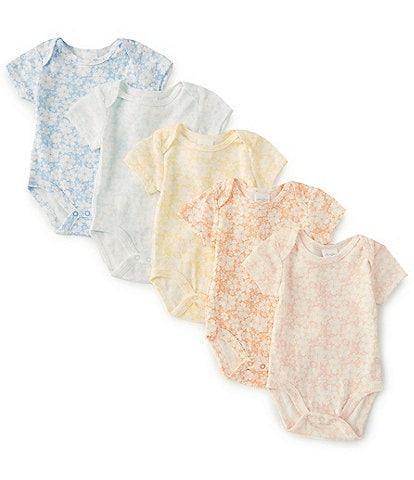 Starting Out Baby Girls Newborn-9 Months Flower Print 5-Pack Bodysuit