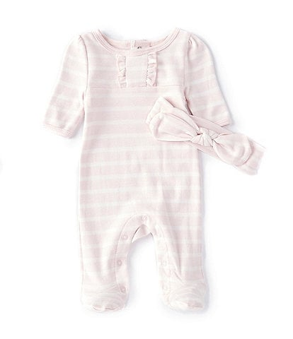 Starting Out Baby Girls Preemie-6 Months Long-Sleeve Stripe Footed Coverall