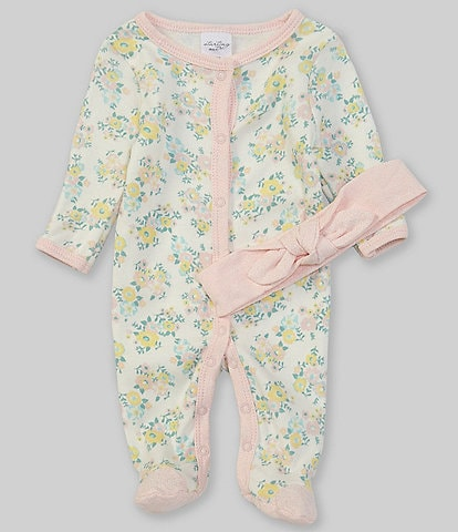Starting Out Baby Girls Preemie-9 Months Long-Sleeve Floral Footed Coverall