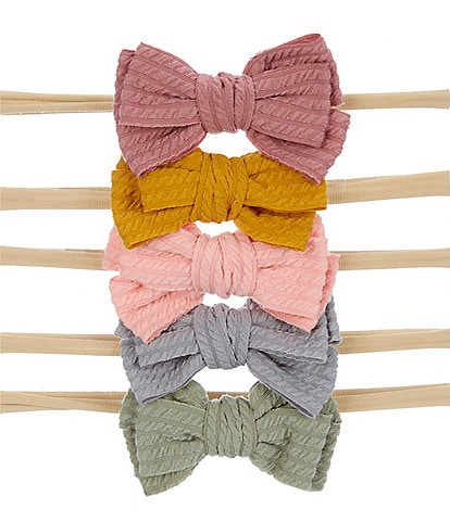 Starting Out Baby Girls Textured Bow 5-Pack Headwraps