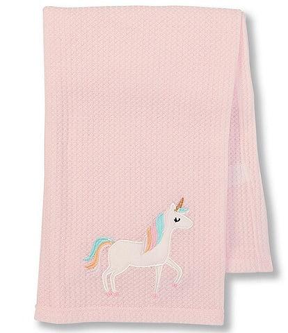 Starting Out Baby Girls Unicorn Waffle-Knit Blanket