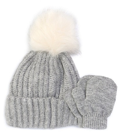 Starting Out Baby Girls Wool Pom Hat & Mittens Set