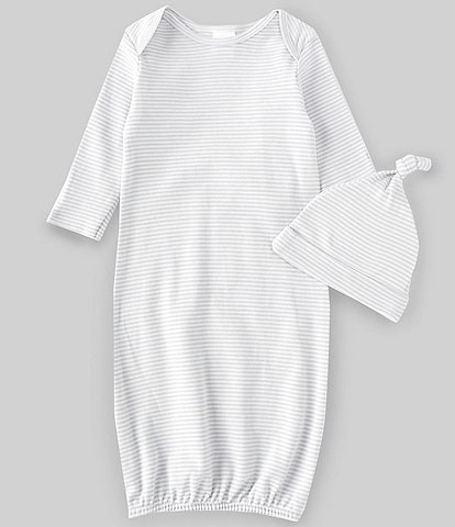 Starting Out Baby Newborn-6 Months Grey Stripe Gown & Knot Hat Set