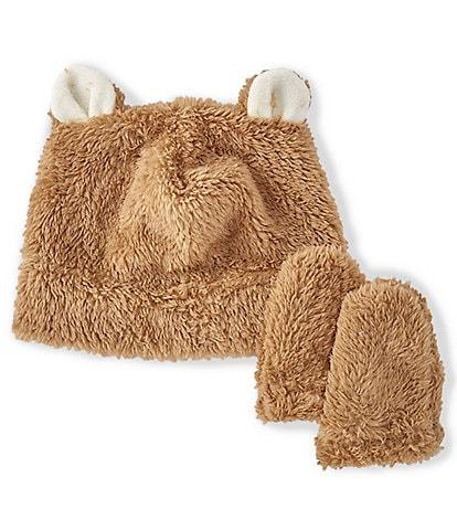 Starting Out Baby Plush Faux-Fur Bear Hat & Mitten Cozy Set