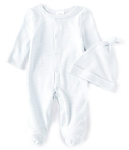 Starting Out Baby Preemie-9 Months Blue Stripe Footed Coverall & Knot Hat Set