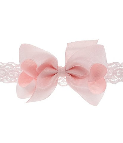 Starting Out Medium Organza Overlay Bow & Lace Headband
