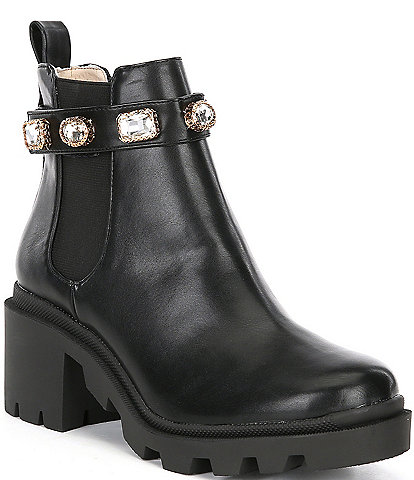 Steve Madden Amulet Jewel Embellished Lug Sole Booties