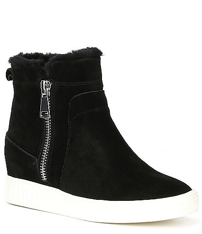 Steve Madden Bamby Suede Faux Fur Trimmed Wedge Sneakers