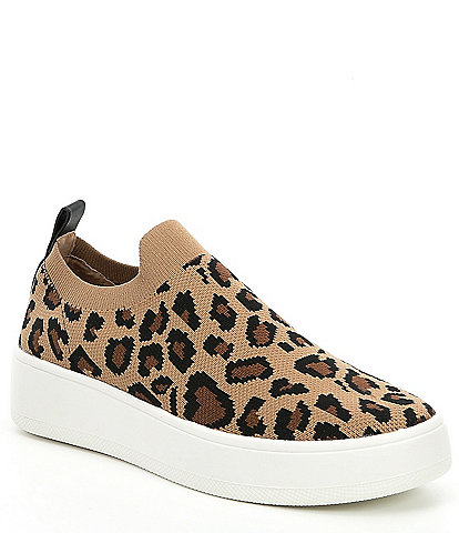 Steve Madden Beale Leopard Print Stretch Knit Sneakers