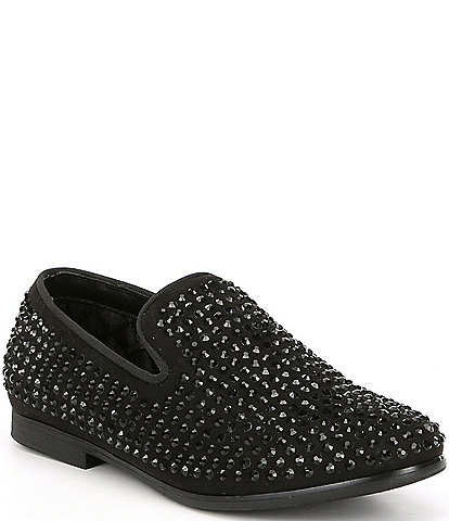 Steve Madden Boy's B-Caviar Rhinestone Studded Slip On Loafers