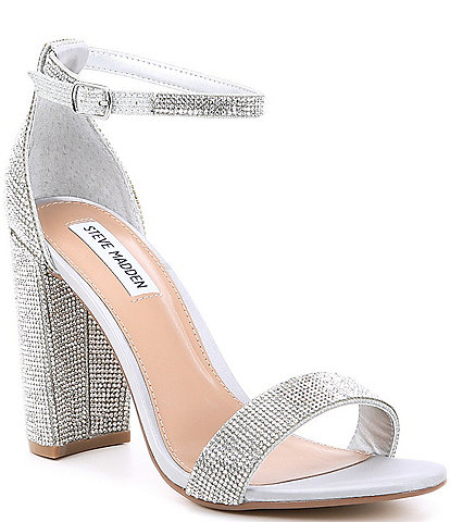 Steve Madden Carrson Rhinestone Ankle Strap Block Heel Dress Sandals