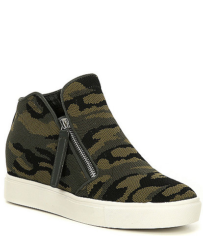 Steve Madden Click Camo Wedge Knit Sneakers