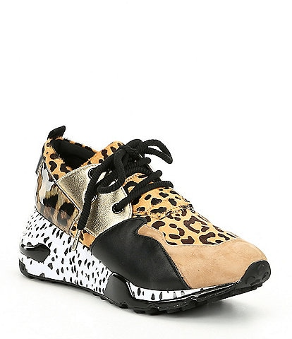 Steve Madden Cliff Leather and Suede Animal Print Sneakers