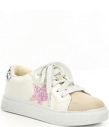 Steve Madden Girls' Jrezume Glitter Pink Star Lace-Up Sneakers (Toddler)